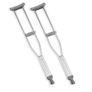 One Pair Aluminum Crutches- 46- 66, up to 350 lbs